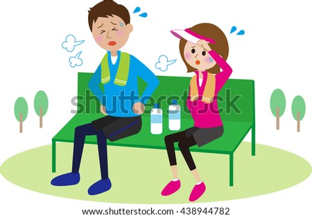 Young couple to rest on a bench