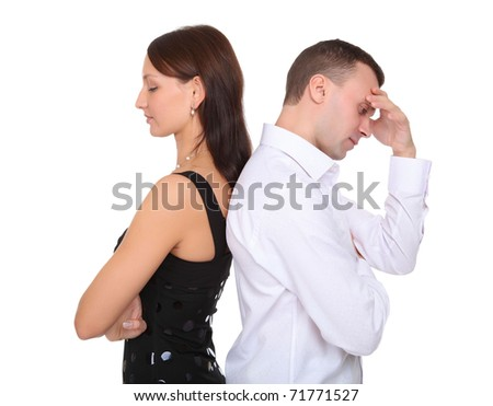 young couple together in state of troubles - stock photo