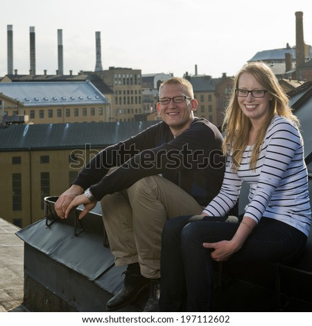 Young couple together, Norrkoping, Ostergotland. Sweden - stock photo