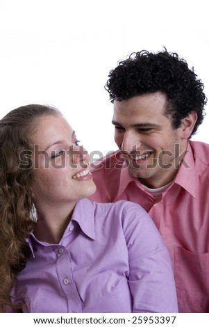young couple together portrait isolated on white - stock photo