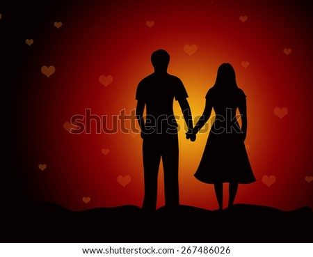 Young couple walking together holding hands on falling hearts background