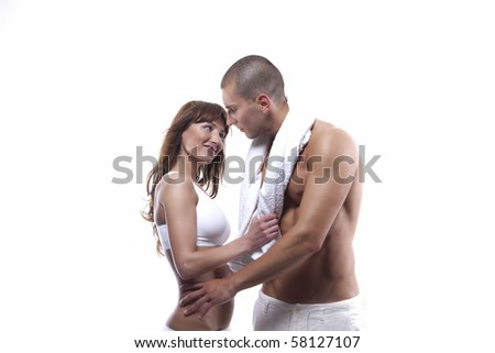 Young couple with great bodies - stock photo