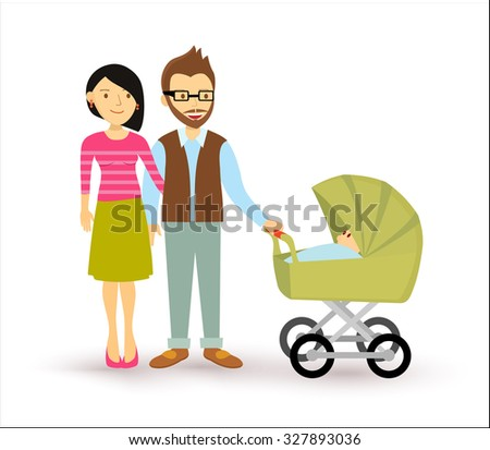 Young couple with newborn baby, start of a family illustration in flat style. - stock photo