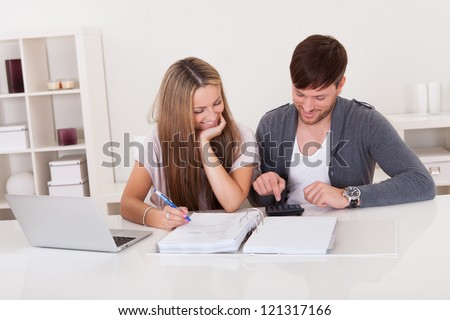 Young couple working on expenses at home