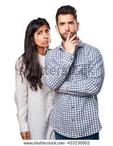 young couple worried - stock photo