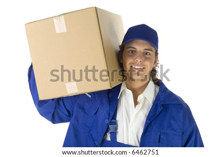 Young courier with carton box on shoulder. He's looking at camera. Isolated on white background. - stock photo