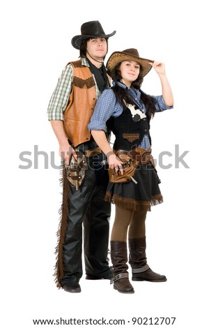 Young cowboy and cowgirl. Isolated on white - stock photo