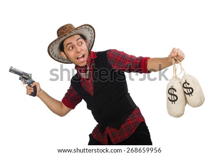 Young cowboy with gun and money bags isolated on white - stock photo