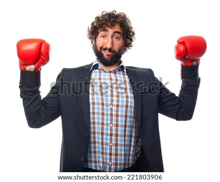 young crazy boxing man