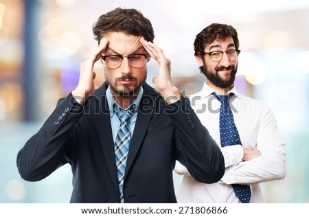 young crazy businessman concentrated gesture - stock photo