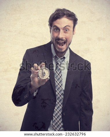 young crazy businessman shouting with a timer