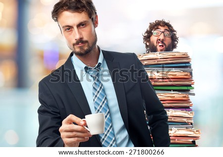 young crazy businessman with a coffee - stock photo