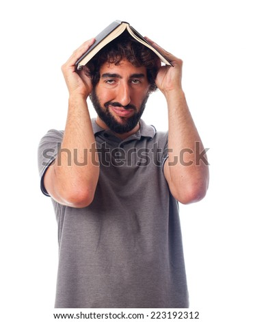 young crazy man boring with a book