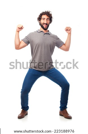 young crazy man dancing - stock photo