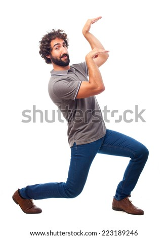 young crazy man dancing - stock photo