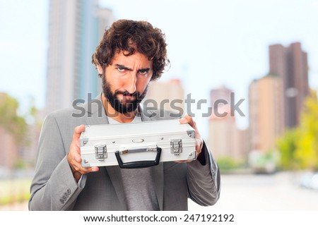 young crazy man with a briefcase
