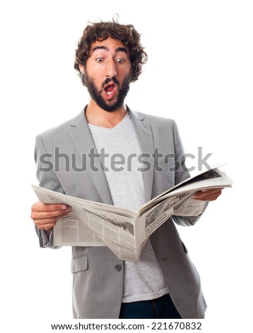 young crazy man with a newspaper