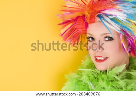 young crazy woman with colorful hair and orange