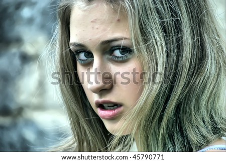 Young criminal girl. Stylized photo - stock photo
