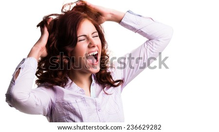 young crying woman - stock photo