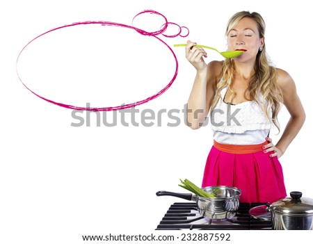 young cuacasian female making soup on a stove with white background - stock photo