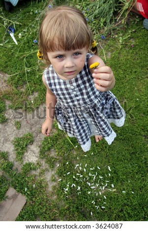 young cute girl with flower