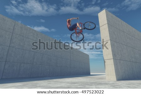 Young cyclist jumping from a wall to another. This is a 3d render illustration