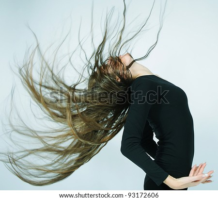 young dancer with long hair - stock photo