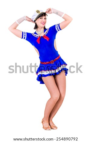 young dancer woman dressed as a sailor posing. Isolated on white background in full length. - stock photo
