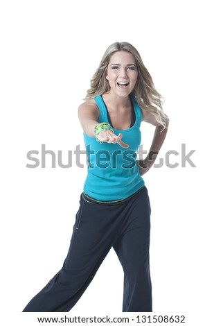 Young dancing sportswoman isolated on white. - stock photo