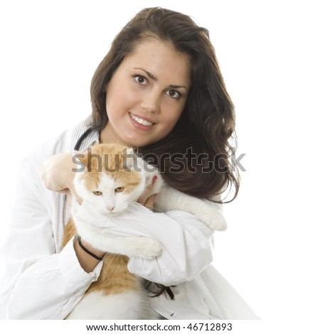 young, dark hair woman keeping white ore cat