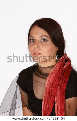 Young dark skinned female with brownish lips and red scarve