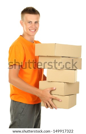 Young delivery man with parcels, isolated on white