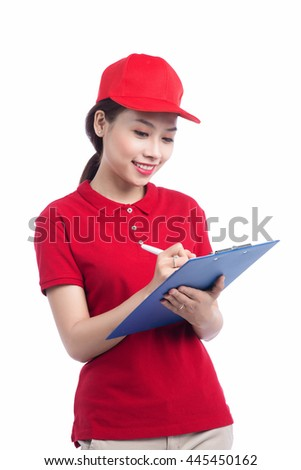 Young Delivery Woman Writing On Clipboard Over White Background - stock photo