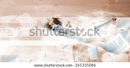 Young determined businesswoman flying high in sky against media background - stock photo