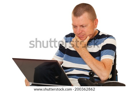 Young disabled man with digital Notebook Isolated on white background