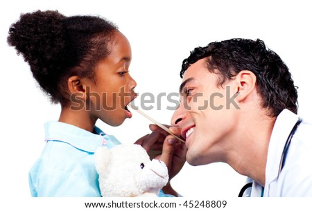 Young doctor checking little girl's throat isolated on a white background - stock photo