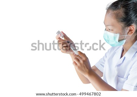 young doctor holding injection