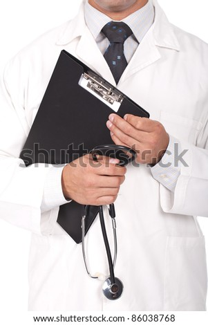 young doctor holding note books and stethoscope