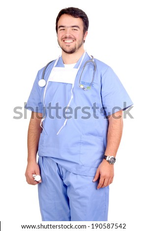 young doctor isolated in white - stock photo