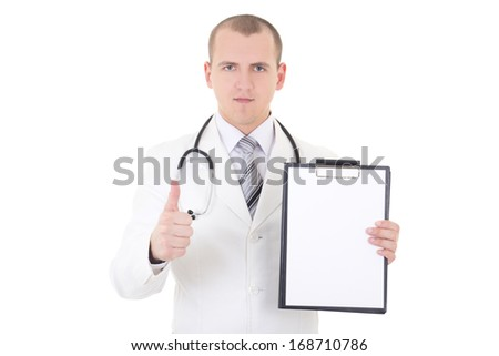 young doctor showing folder with copy space for text and thumbs up isolated on white background - stock photo