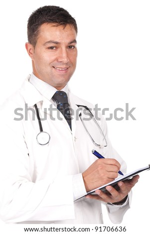 young  doctor smiling, writing notes and prescriptions - stock photo