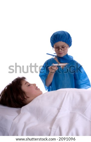 Young doctor taking the temperature of patient.  Isolated against a white backdrop. - stock photo