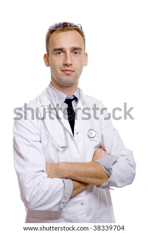 young doctor with arms crossed and stethoscope