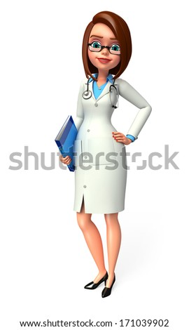 Young doctor with file - stock photo