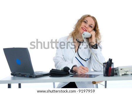 young doctor with stethoscope on isolated background