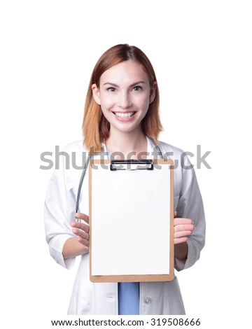 Young doctor woman smile show clipboard to you isolated on white background, caucasian beauty - stock photo