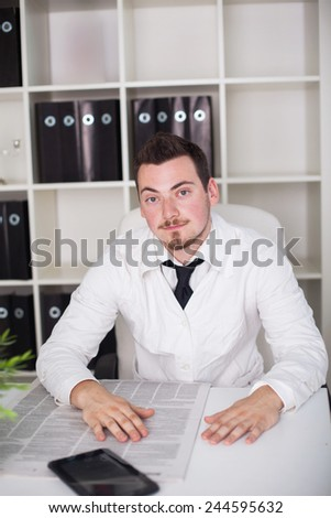 young doctor working open posture in office