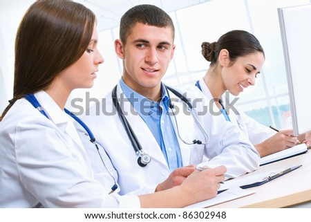Young doctors working in hospital