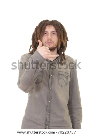 young dreadlock man isolated - stock photo